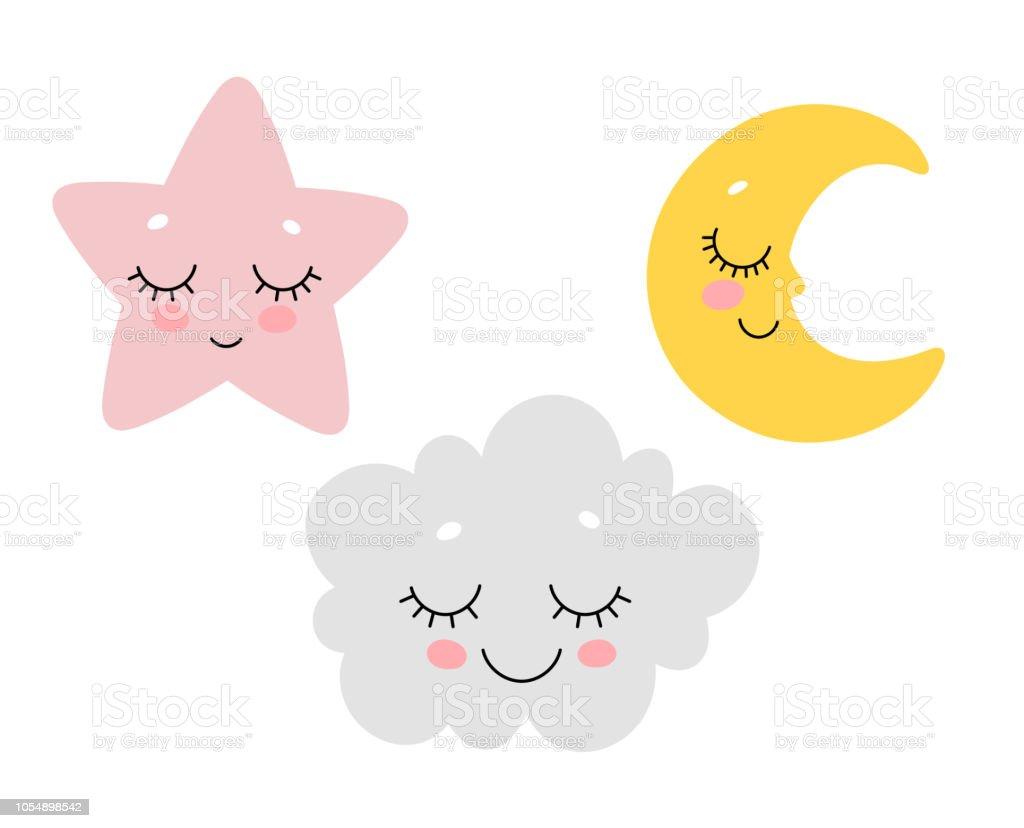 かわいい眠っている雲月と星のベクトル イラストプリント デザインは北欧の保育園 いたずらのベクターアート素材や画像を多数ご用意 Istock