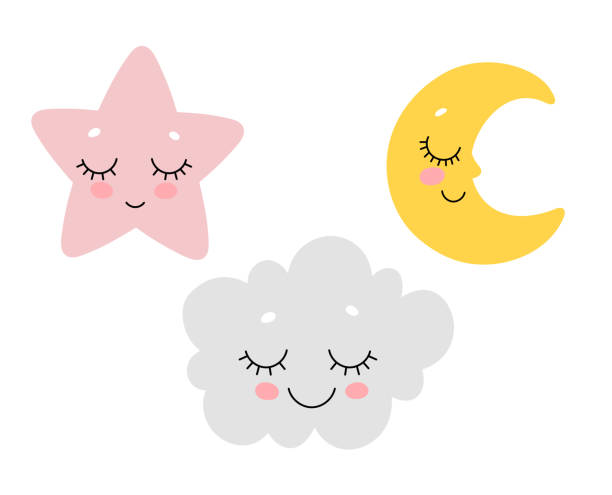 vector illustration of cute sleeping cloud, moon and star. scandinavian nursery print design. - cute stock illustrations
