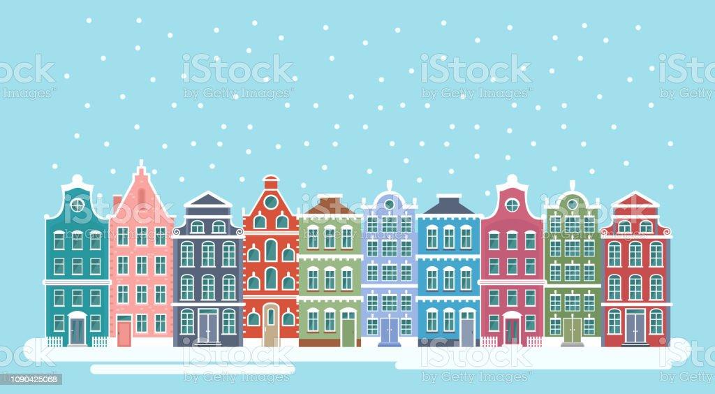 Astounding Vector Illustration Of Cute Snowy Christmas Town City Interior Design Ideas Skatsoteloinfo