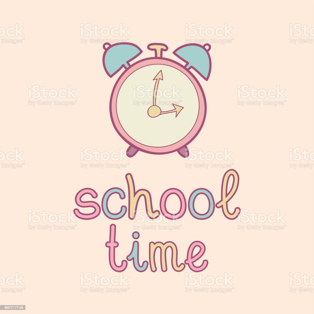 かわいいビンテージ目覚まし時計テキストの学校の時間のベクトル