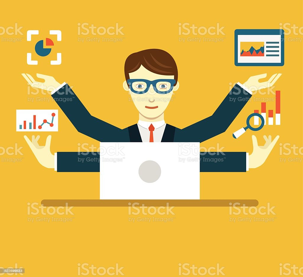 Vector Illustration of Data Specialist with copy space for text vector art illustration