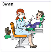 istock Vector illustration of dentist isolated on white background. Jobs and occupations concept. Cartoon characters. Education and school kids coloring page, printable, activity, worksheet, flashcard. 1319334356