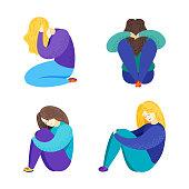 Vector illustration of depression. Sad girl.