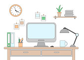 Vector illustration of desk with a computer. Workplace in office or at home drawn in flat style
