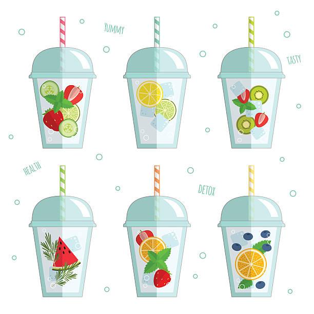 ilustrações, clipart, desenhos animados e ícones de ilustração em vetor de água desintoxicante - fruit salad