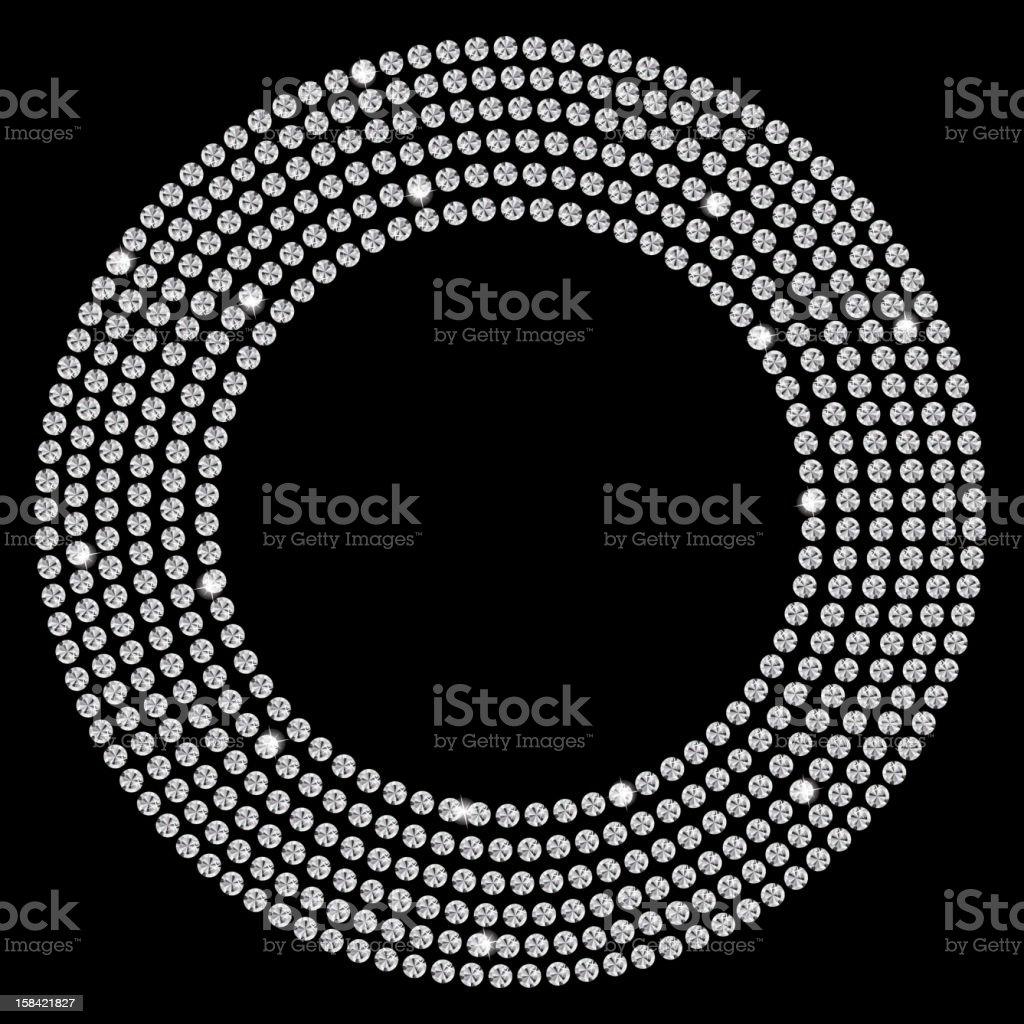 Vector illustration of diamonds in a circle on black vector art illustration
