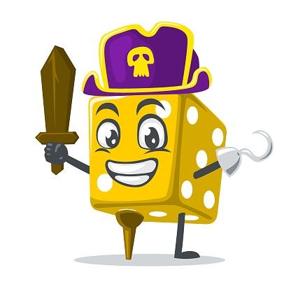 vector illustration of dice mascot or character