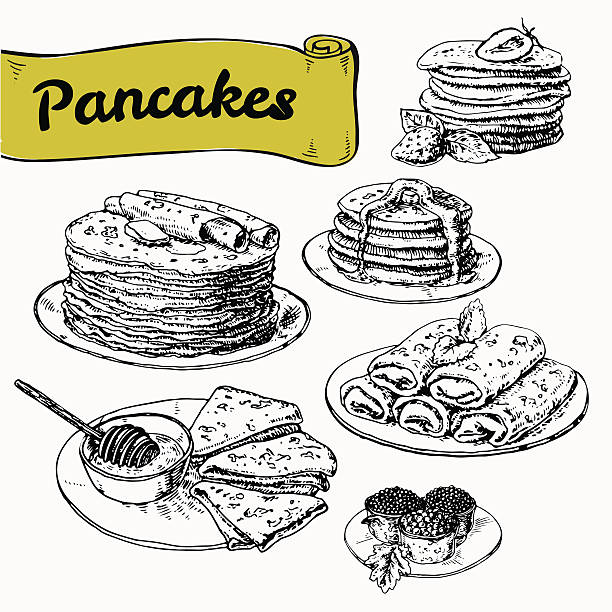 Vector illustration of different kinds of pancakes illustration of set of pancakes with fillings and additives. Vector illustration, hand drawn. graphicsillustration of set of pancakes with fillings and additives. Vector illustration, hand drawn. graphics maple syrup stock illustrations