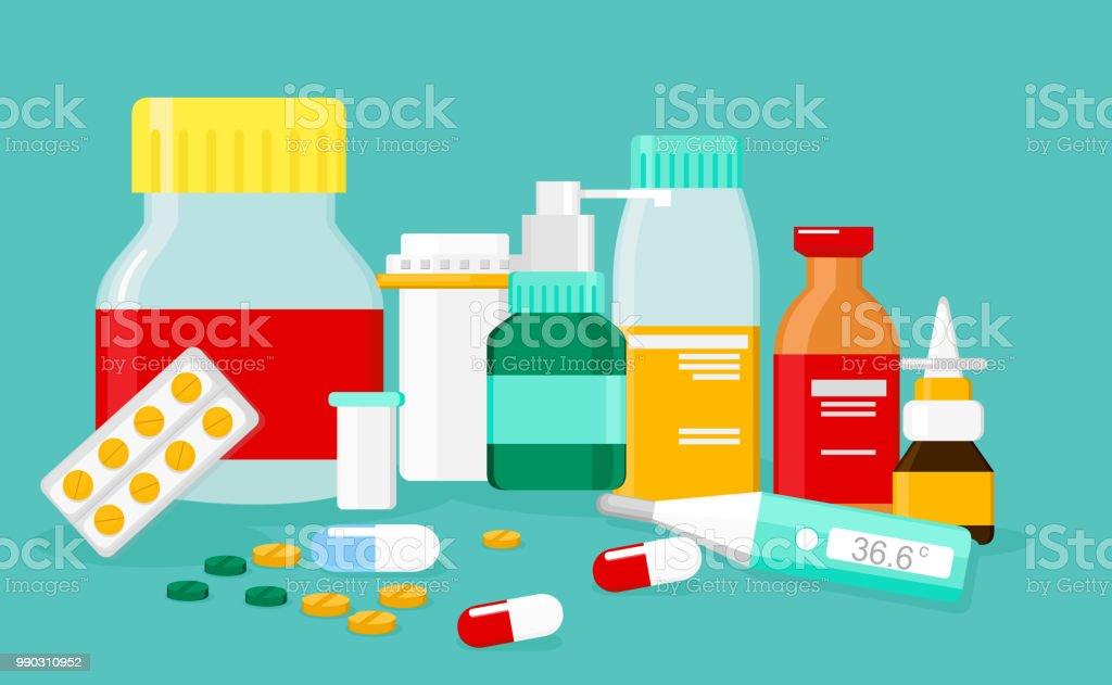 異なる医療薬やボトル薬局ドラッグ ストアのベクター イラストです