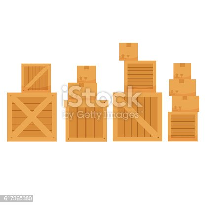 vector illustration of different shape carton box on a white background