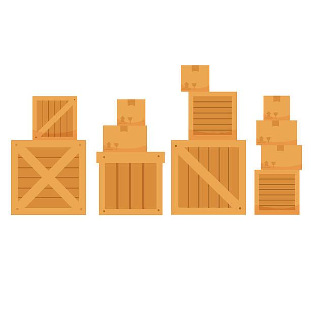 vektor-illustration von verschiedenen form karton auf weißem hintergrund - holzkiste stock-grafiken, -clipart, -cartoons und -symbole