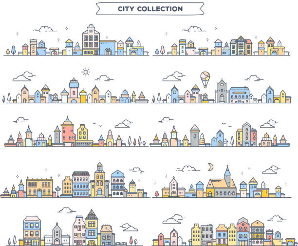 vector illustration of different summer city landscape on white background. set of urban european retro color detailed city with tree, cloud, air balloon. - небольшой город stock illustrations