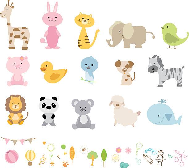 vektor-illustration von verschiedenen wilde tiere cartoons  - elefantenkunst stock-grafiken, -clipart, -cartoons und -symbole