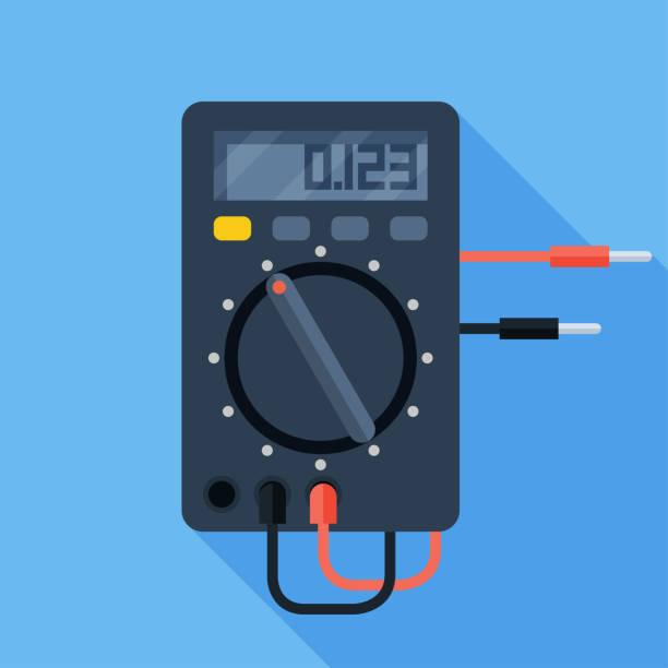 ilustraciones, imágenes clip art, dibujos animados e iconos de stock de ilustración vectorial de multímetro eléctrico digital. dispositivo de medición voltímetro icono plano colorido - amperímetro