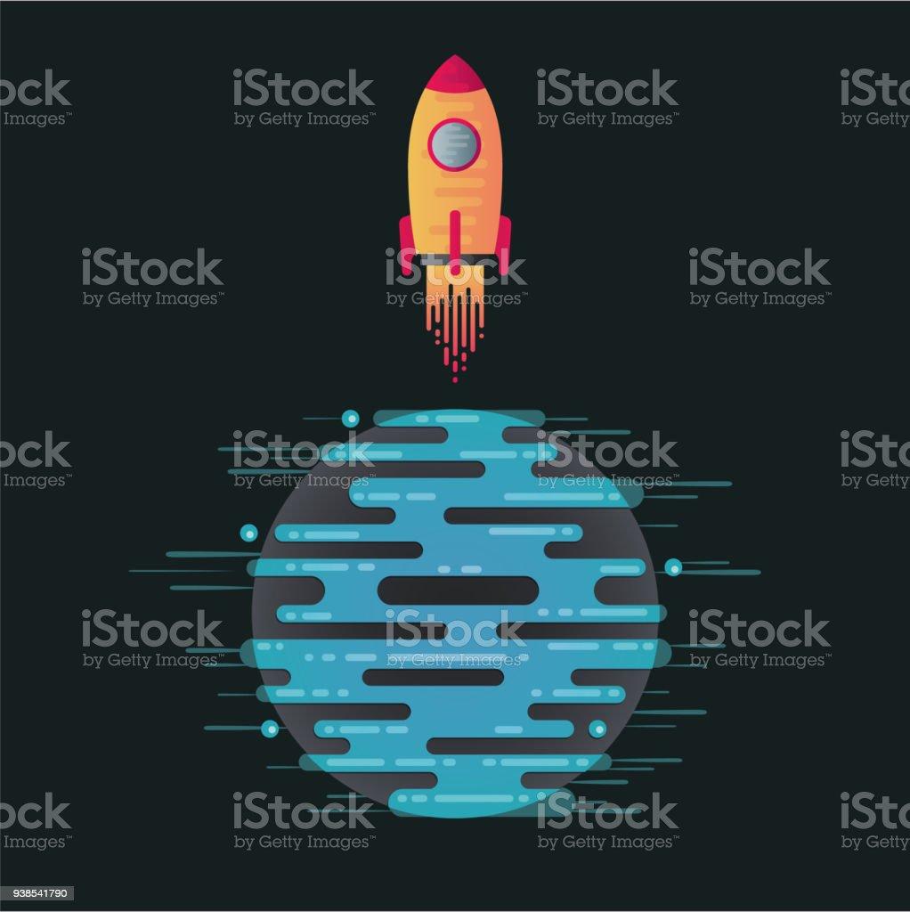 Vector illustration of digital planet and rocket vector art illustration