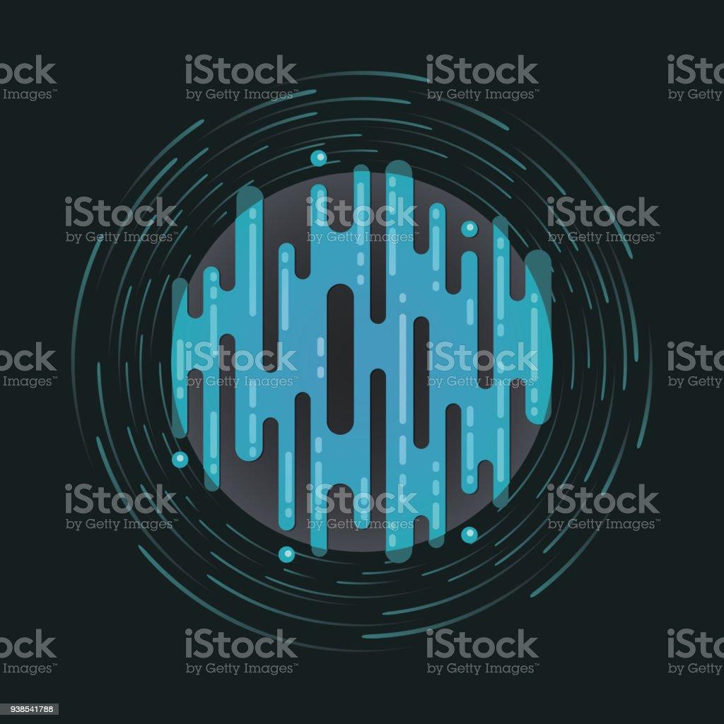 Vector illustration of digital planet in space vector art illustration