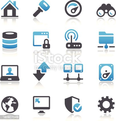 Set of 32 Internet and network icons.  All icons are black, white and blue.  Included in the set is a