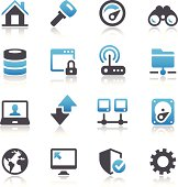 """Set of 32 Internet and network icons.  All icons are black, white and blue.  Included in the set is a """"home"""" icon with a black building and blue roof and chimney, along with a black pair of binoculars with some blue color in the white lenses.  A blue upward-pointing arrow is sitting on top of a black downward pointing arrow.  There is a black gear at the bottom corner.  Other icons include a globe, a laptop with a human head on the screen, and a modem.  The icons sit on a black background, and they have a reflection beneath them."""