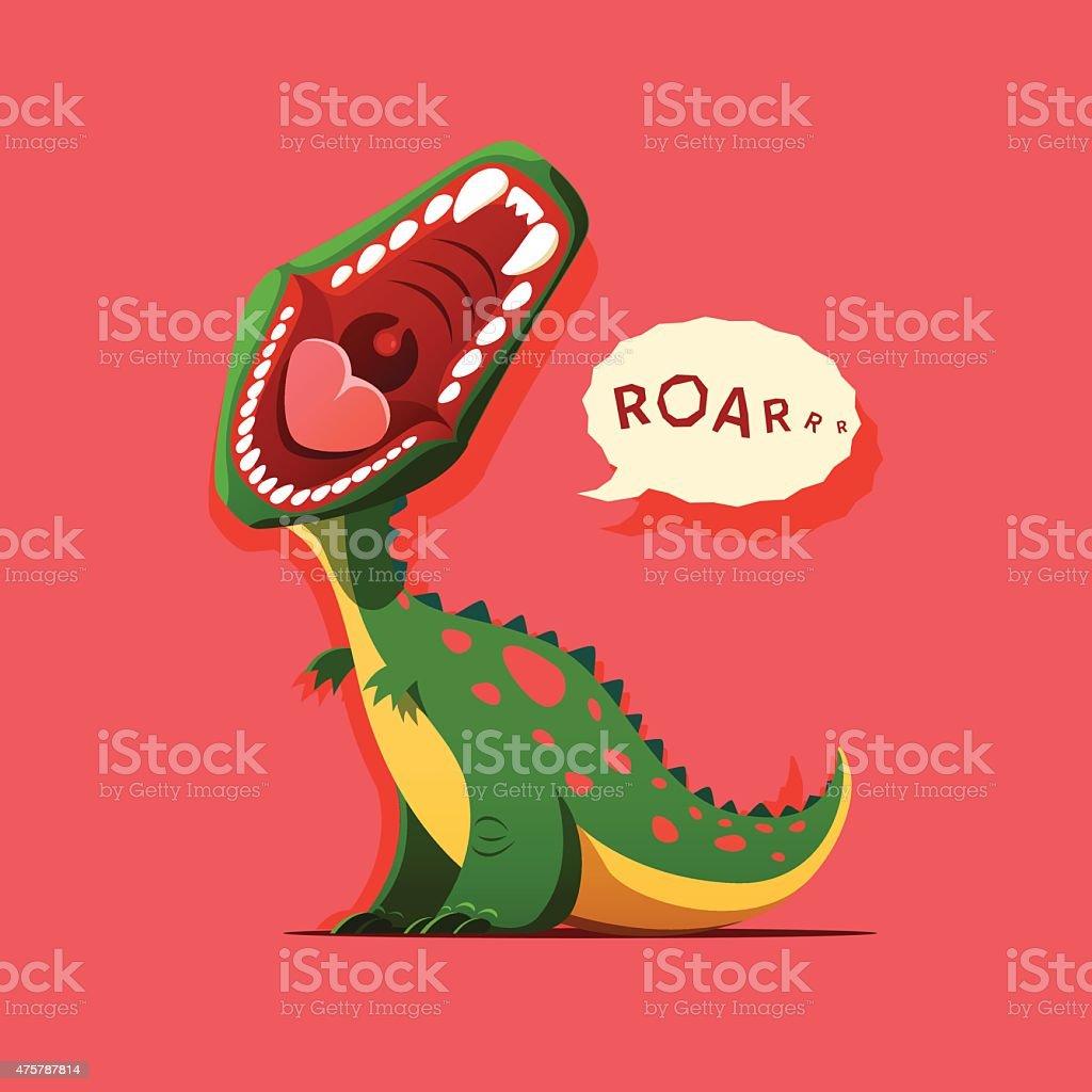 Vector illustration of dinosaur is roaring vector art illustration