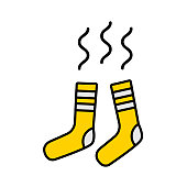 istock Vector illustration of dirty smelly (no fresh) yellow flat socks with white strips 1061273458