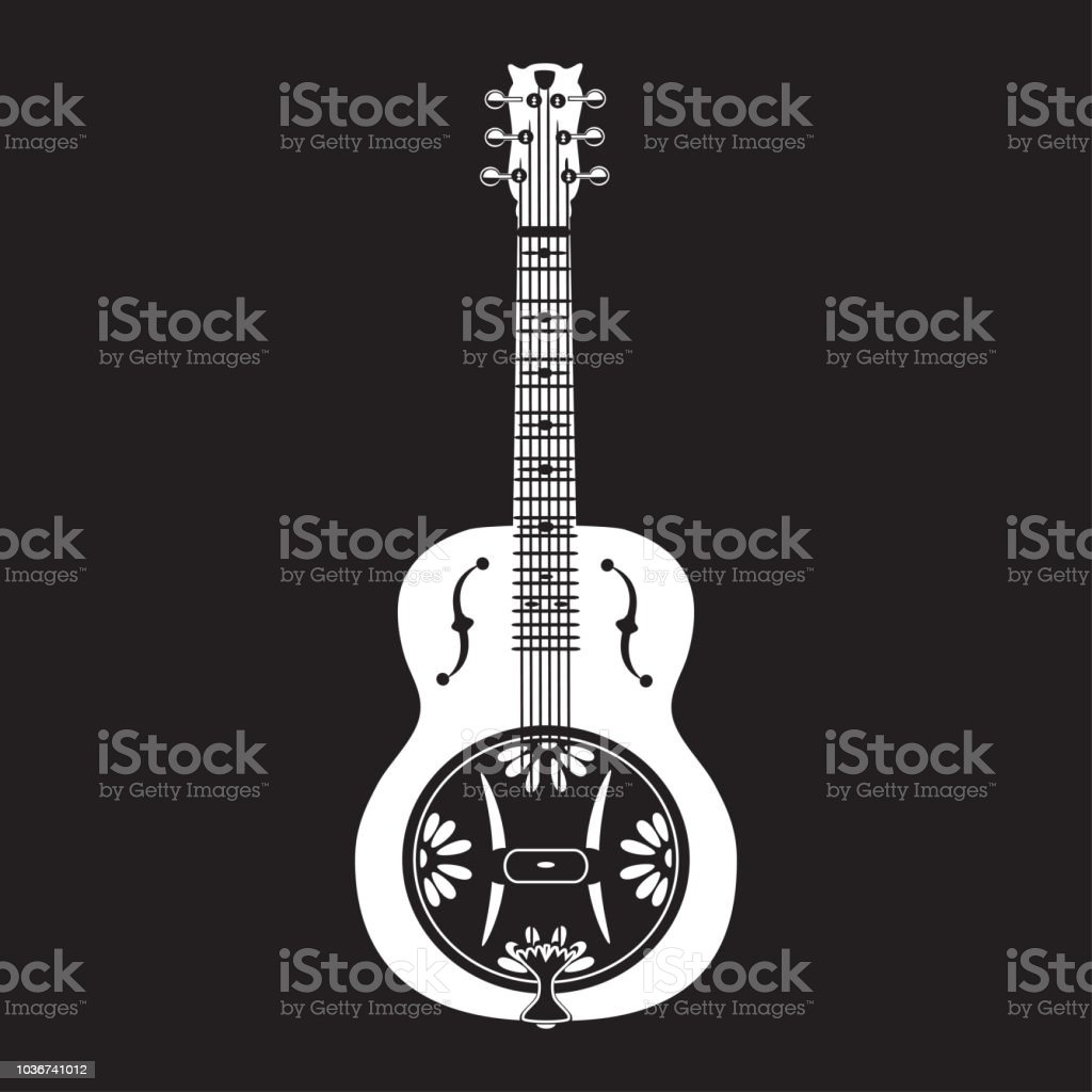 Vector illustration of dobro, american resonator guitar vector art illustration