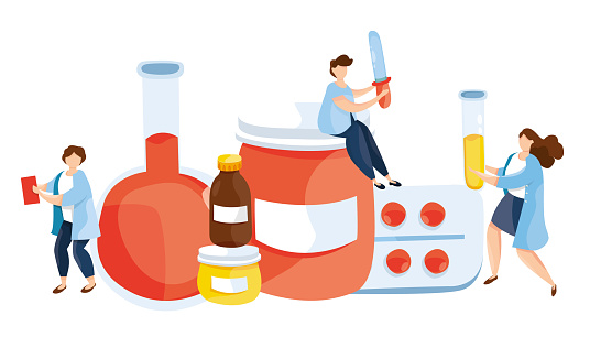 Vector illustration of doctor with medicine drugs. Tube with blood and vaccine. Research lab. Viral center. Research center. Medicament Treatment and Health Care. Healthcare persons concept.