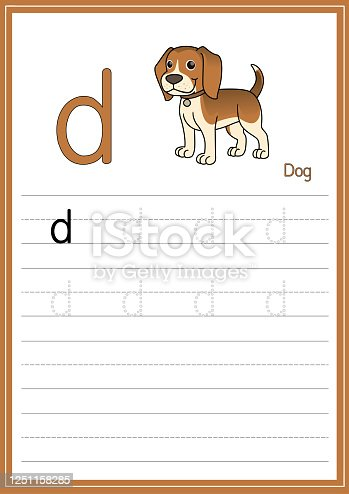 istock Vector illustration of Dog isolated on a white background. With the capital letter D for use as a teaching and learning media for children to recognize English letters Or for children to learn to write letters Used to learn at home and school. 1251158285
