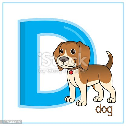 istock Vector illustration of Dog isolated on a white background. With the capital letter D for use as a teaching and learning media for children to recognize English letters Or for children to learn to write letters Used to learn at home and school. 1270300260
