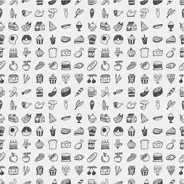 Vector illustration of doodle food pattern vector art illustration