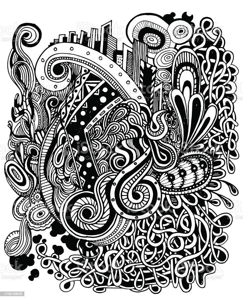 Vector illustration of Doodle hipster pattern vector art illustration