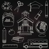 Vector Set of Hand Drawn Chalkboard Doodle School Vectors. Transparencies and gradients used in background only. Large JPG included. Each element is individually grouped for easy editing.