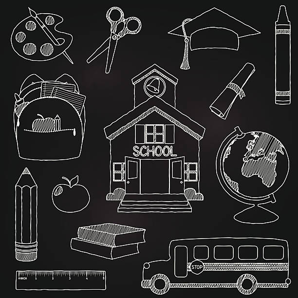 Vector illustration of doodle school elements Vector Set of Hand Drawn Chalkboard Doodle School Vectors. Transparencies and gradients used in background only. Large JPG included. Each element is individually grouped for easy editing. schoolhouse stock illustrations