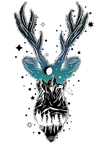 Vector illustration of double exposure deer with mountains, forest and night sky.