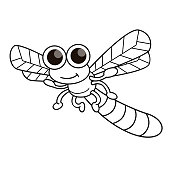 Vector illustration of dragonfly isolated on white background. For kids coloring book.