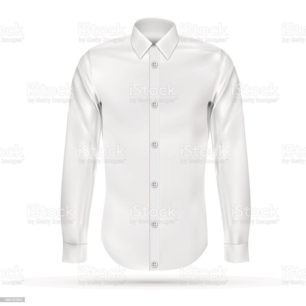 Vector illustration of dress shirt (button-down). Front view vector art illustration