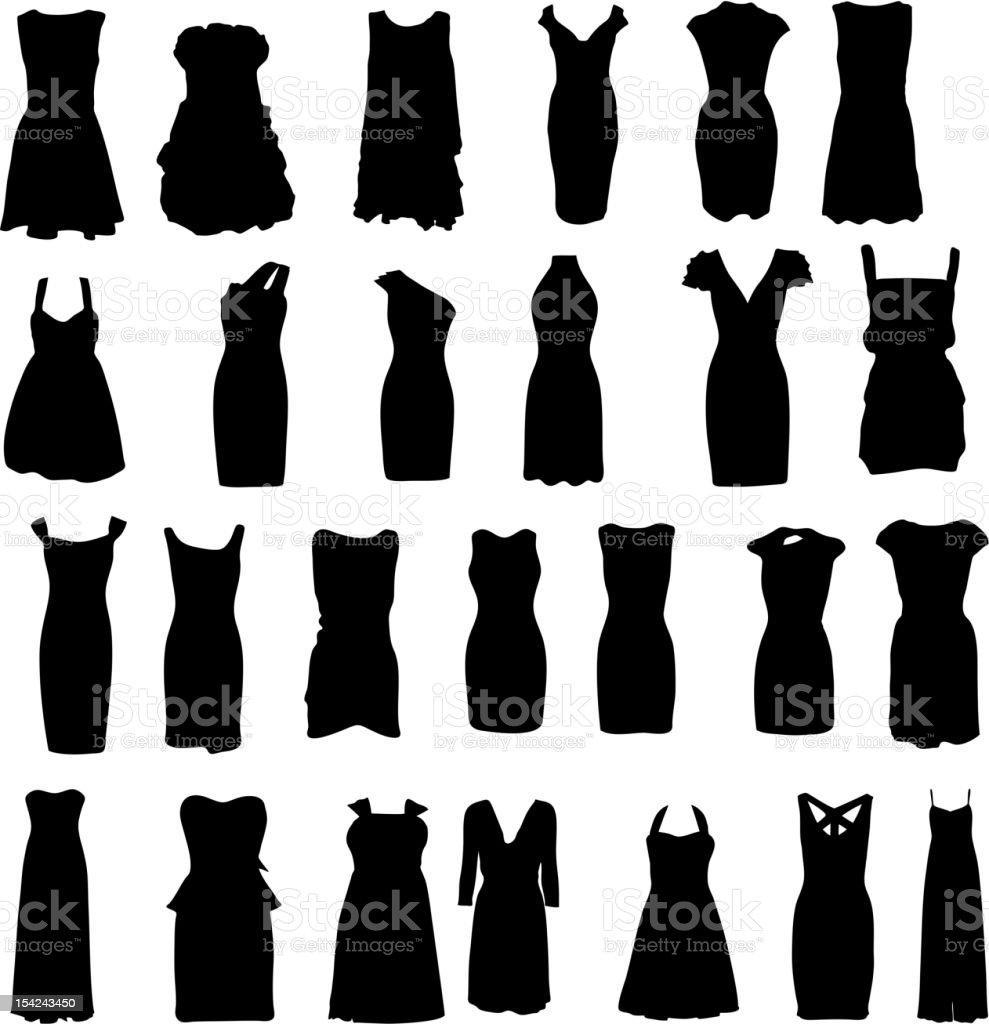 Vector Illustration Of Dress Silhouettes Stock