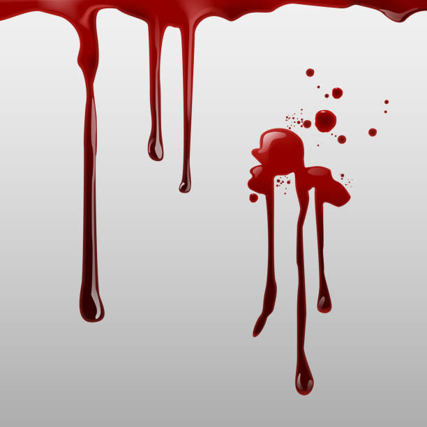 illustrazioni stock, clip art, cartoni animati e icone di tendenza di vector illustration of dripping blood and set of different gore splashes, drops and trail on background - thriller