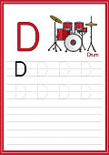 Vector illustration of Drum set isolated on a white background. With the capital letter D for use as a teaching and learning media for children to recognize English letters Or for children to learn to write letters Used to learn at home and school.