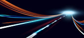 Vector illustration of dynamic lights. High speed road in night time abstraction. City road car light trails motion background