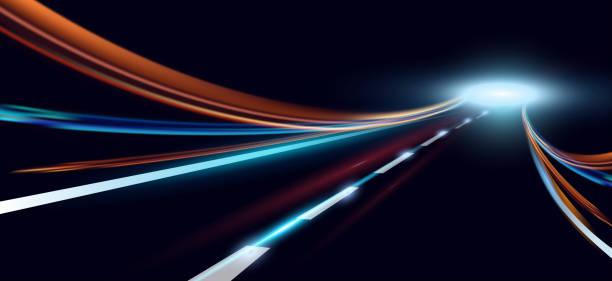 illustrations, cliparts, dessins animés et icônes de illustration vectorielle de lumières dynamiques. route de haute vitesse en abstraction de temps de nuit. sentiers de lumière voiture ville route motion de fond. - voiture nuit