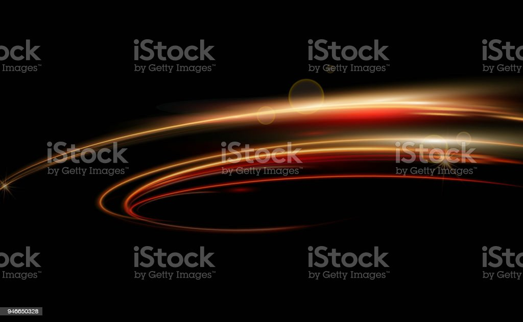 Vector illustration of dynamic lights in dark background. High speed in night time abstraction. Car light trails motion ackground. - Royalty-free Abstrato arte vetorial