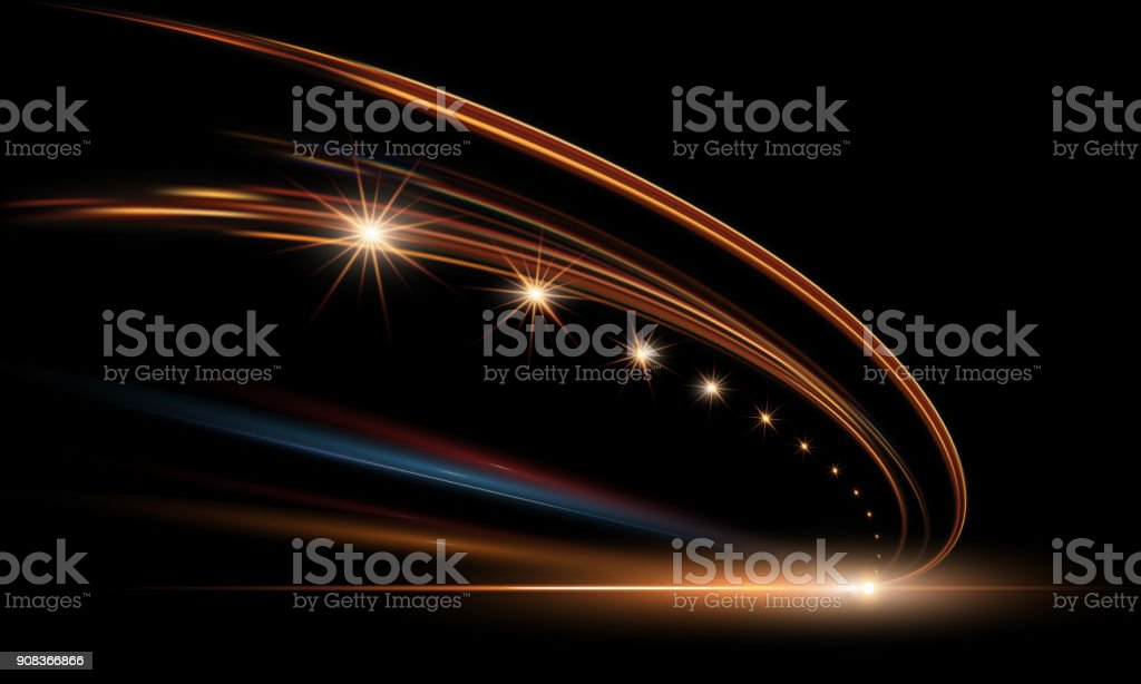 Vector illustration of dynamic lights in dark. High speed road in night time abstraction. City road car light trails motion background. vector art illustration