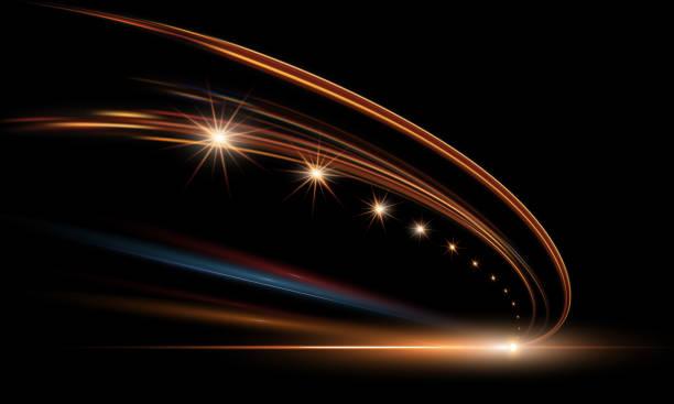 illustrations, cliparts, dessins animés et icônes de illustration vectorielle de lumières dynamiques dans l'obscurité. route de haute vitesse en abstraction de temps de nuit. sentiers de lumière voiture ville route motion de fond. - voiture nuit