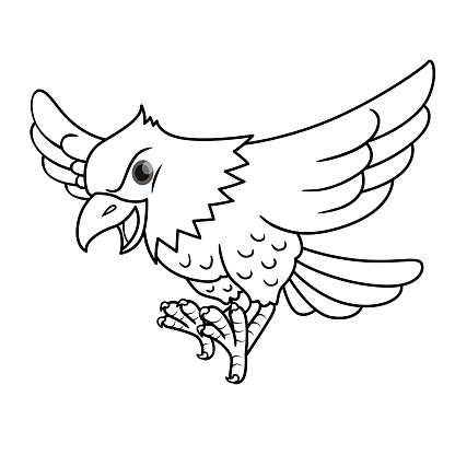 Vector illustration of eagle isolated on white background. For kids coloring book.
