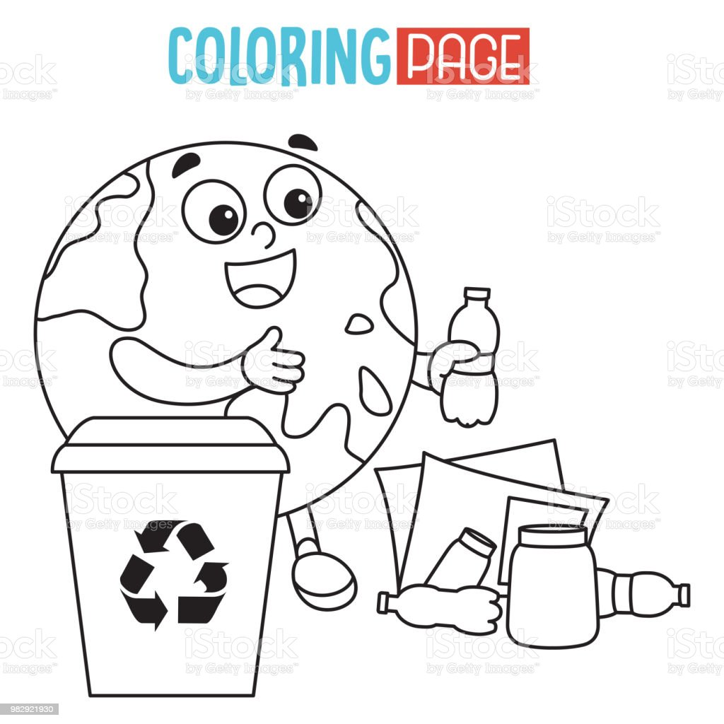 Vector Illustration Of Earth Coloring Page Stock Vector Art & More ...