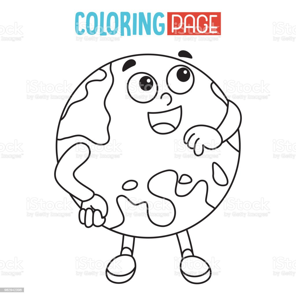 Vector Illustration Of Earth Coloring Page Stock Vector Art More