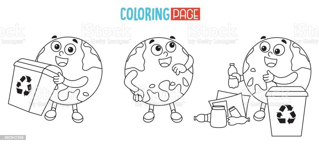 Vektör çizim Dünya Boyama Sayfası Stok Vektör Sanatı Animasyon