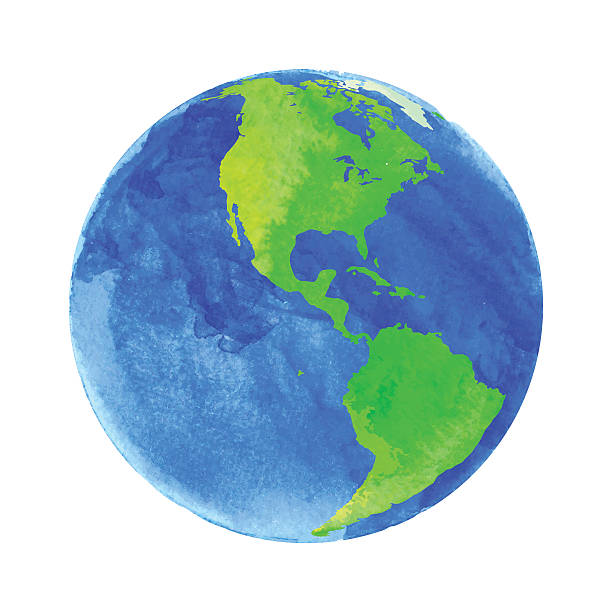 vector illustration of earth with watercolor texture on white background - earth stock illustrations, clip art, cartoons, & icons