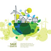 Vector illustration of earth with wind turbine, house, trees.