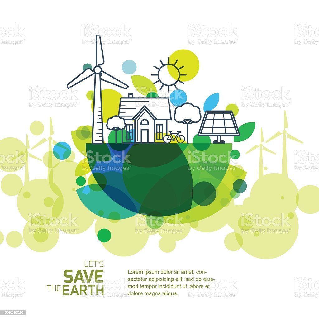 Vector illustration of earth with wind turbine, house, trees. vector art illustration